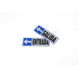 Cartel salida a la izquierda de 17,5x6cm color azul y gris