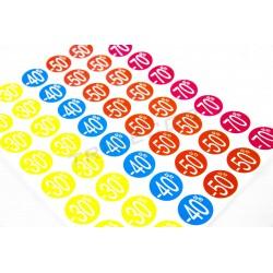 Etiquetes descomptes. Diversos colors. 2.5x2.5 cm, tridecor
