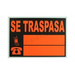 Cartel se traspasa 50x35cm naranja y negro. tridecor