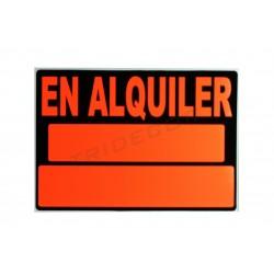 "Cartel ""se alquila"" 50x35cm color naranja y negro"