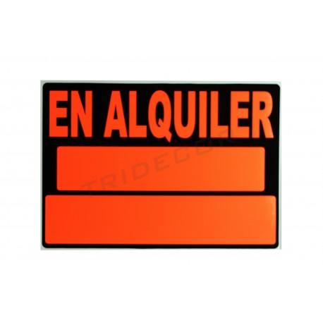 Cartel, En alquiler, 50x35 cm. Naranja y negro, tridecor