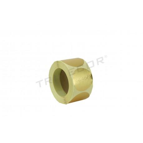 Etiqueta adhesiva, Felicidades. Color oro. 500 uds., tridecor