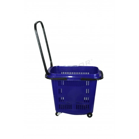 Cistella de la compra, de color blau. 50 litres, tridecor