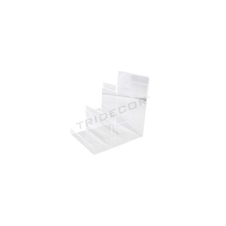 Expositor acrílico transparente en escalera a 3 alturas. Medida: 20x10 cm