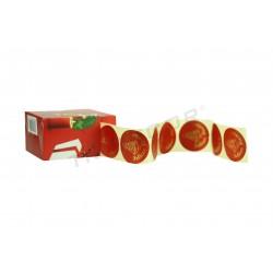 粘胶标签,节日快乐。 红色和黄金。 ,tridecor