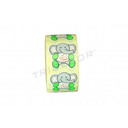 "ADHESIVE LABEL ""IS FOR YOU"". PATTERNED ELEPHANT"