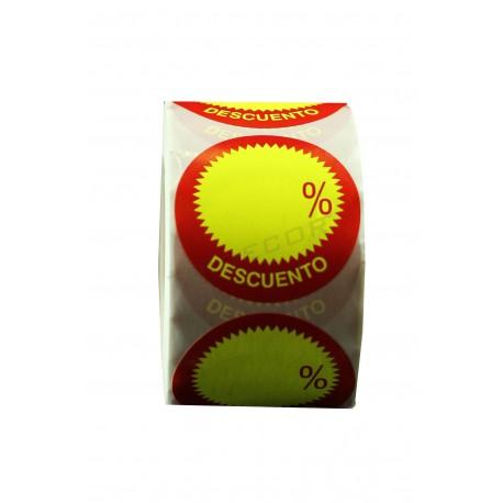 Etiquetas adesivas, Desconto. Amarelo e vermelho, tridecor