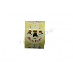 Etiqueta adhesiva, Felices Fiestas, motivo campanas de oro., tridecor