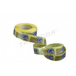 Etiqueta para regalos felicidades estampado lazo azul 500 unidades