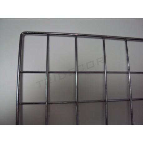 033057 Reja expositora cromada para pared 60x120 cm. Tridecor