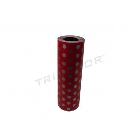 Papel de presente vermelho com estampa de bolinhas 31cm