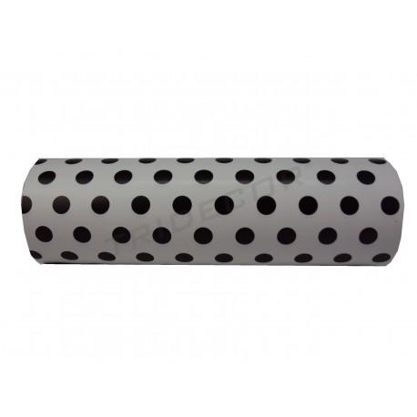 Papel de embrulho branco com estampa de bolinhas pretas 31cm