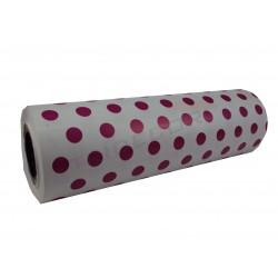 Embrulho de agasallo de papel en branco, estampados polka dots fúcsia 31cm