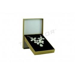 010886 Caja para joyería dorada material rugoso 9.3x13x2.2cm 4 unidades Tridecor