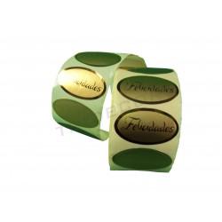 Etiqueta adhesiva, Felicidades, oro. 500 uds. tridecor
