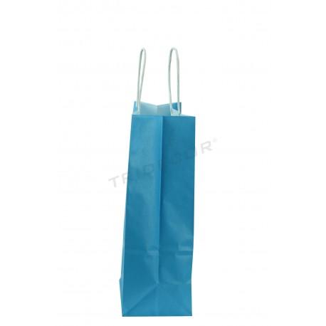 Bossa de pasta de paper amb nansa arrissat blau 40x32x12cm-25 unitats