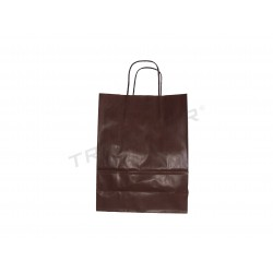 Paper bag kraft with handle, curly brown 36x27x12cm 25 units