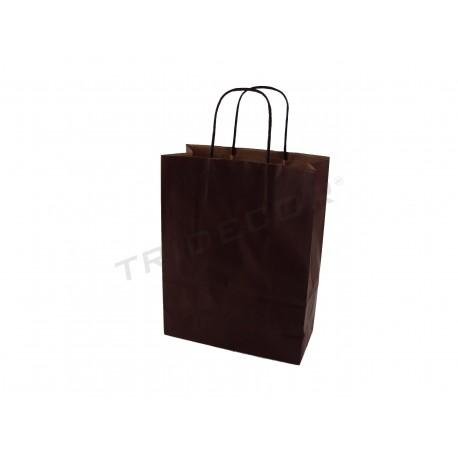 Bolsa de papel kraft con manexar, crespo castaño 41x36+12cm-25 unidades