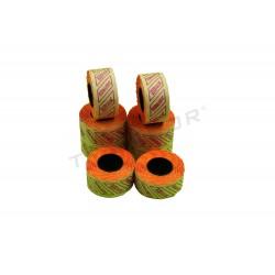 Etiqueta naranja para etiquetadora una línea, 26x12 mm. 8 rollos, tridecor