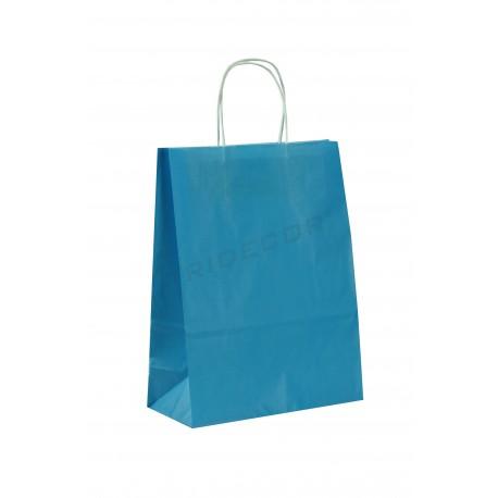 Bossa de pasta de paper amb nansa arrissat llum de color blau de 37x12x27cm 25 unitats