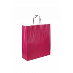 Bolsa de papel celulosa con asa rizada color fucsia de 37x27x12cm 25 unidades