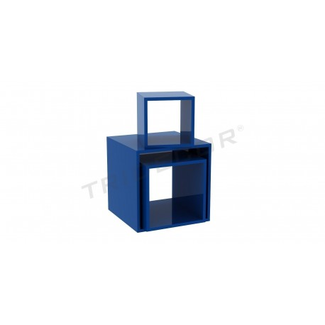Square cube blue several measures