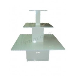 DISPLAY CABINET SQUARE WHITE GLOSS 3 HEIGHTS