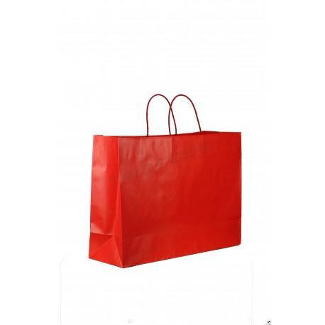 Bolsa de papel fuerte con asa de cordón de color rojo mate de 54x16x43cm-25 unidades