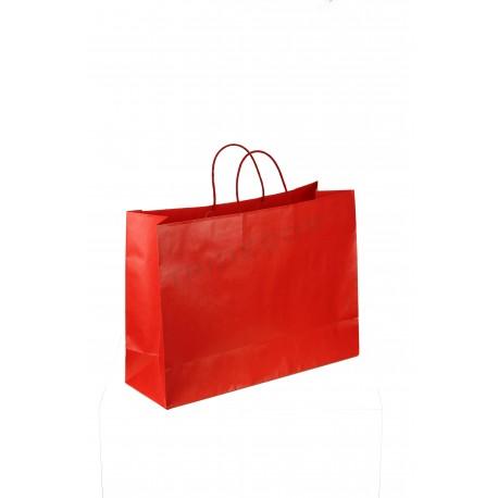 Saco de papel forte, com asa de cordão vermelho 35x13x30cm embalagens de 25 unidades