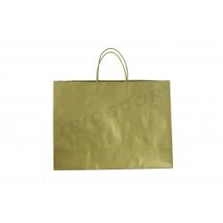 Bolsa de papel fuerte con asa de cordón color dorado de 54x16x43cm 25 unidades