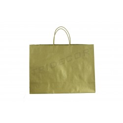 Paper bag with heavy drawstring handle golden color of 54x16x43cm 25 units