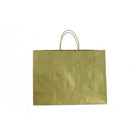 Bossa de Paper amb molt de cordó nansa color daurat de 54x16x43cm 25 unitats