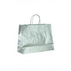 Paper artesanal bossa amb nansa de cordó de color plata 54x16x43cm paquets de 25