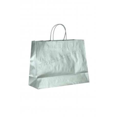 Bolsa de papel celulosa, asa de cordón, plata. 54x16x43cm. 25uds, tridecor