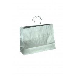 Bolsa de papel celulosa con asa de cordón color plata 35x13x31cm 25 unidades