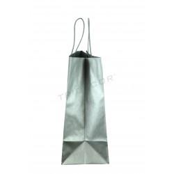 Bossa de pasta de paper amb el llaç nansa color plata 35x13x31cm 25 unitats