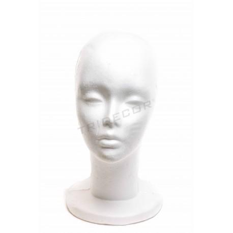 Cabeza de mujer en porexpan color blanco.