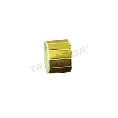 """L'etiqueta de """"Felicitats"""", de color daurat. 500 pcs. , tridecor"""