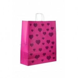 Bolsa de papel celulosa con asa rizada 32x12x41cm fucsia, estampado corazones 25 unidades
