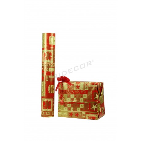 Papel regalo rojo motivos navideños dorados, 62 cm, tridecor