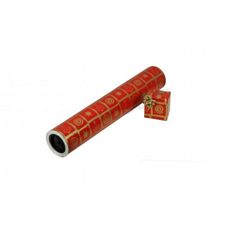 Papel regalo rojo, motivos navideños dorados. 62 cm, tridecor