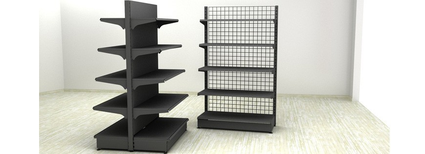Metal shelving-gray color