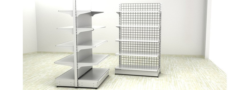 Metal shelving white color